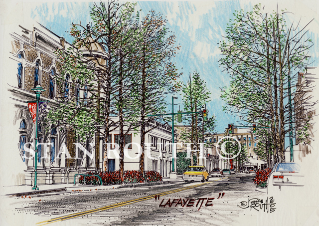 Lafayette,Louisiana Art Print-Downtown Cypress