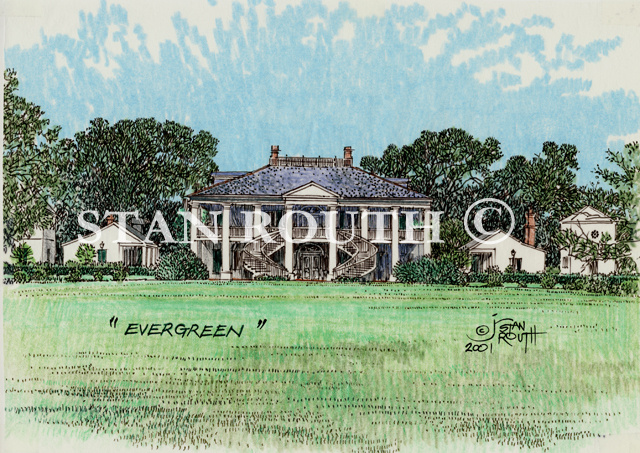 Louisiana art print-Evergreen Plantation House