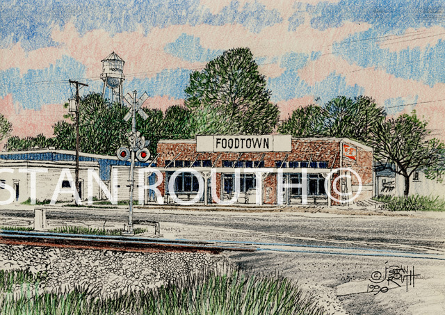 Mooringsport,Louisiana art print-store with water tower