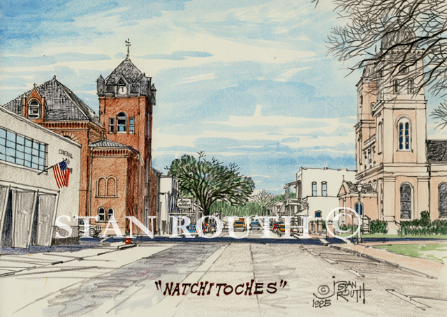Natchitoches, Cath Ch & Town Hall - '95